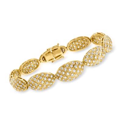 C. 1980 Vintage 5.35 ct. t.w. Diamond Oval Bracelet in 18kt Yellow Gold