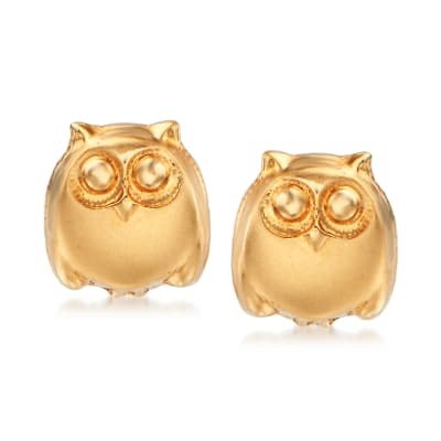Child's 14kt Yellow Gold Owl Stud Earrings