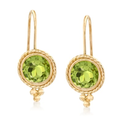 1.75 ct. t.w. Peridot Drop Earrings in 14kt Yellow Gold