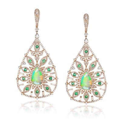 Opal, 5.85 ct. t.w. Diamond and 1.40 ct. t.w. Emerald Drop Earrings in 18kt White Gold