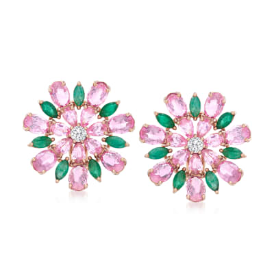 9.60 ct. t.w. Pink Sapphire and 2.30 ct. t.w. Emerald Flower Earrings with .28 ct. t.w. Diamonds in 18kt Rose Gold
