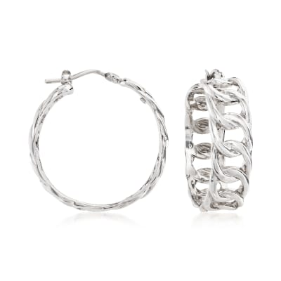 Italian Sterling Silver Curb-Link Hoop Earrings