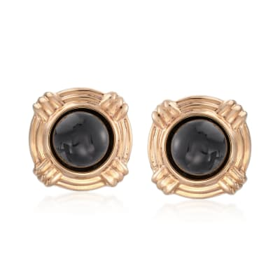 Cabochon Black Onyx Clip-On Earrings in 14kt Yellow Gold