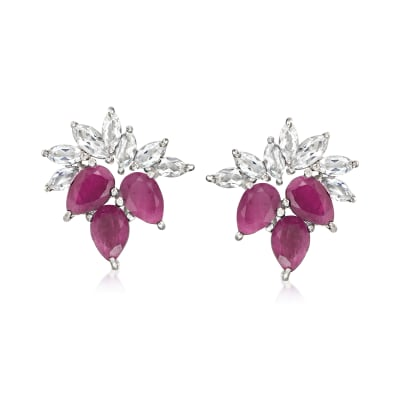 3.50 ct. t.w. Ruby and 1.40 ct. t.w. White Topaz Earrings in Sterling Silver