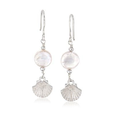 12mm Cultured Pearl and Hematite Seashell Drop Earrings in Sterling Silver