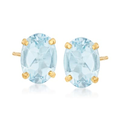 1.20 ct. t.w. Aquamarine Oval Stud Earrings in 14kt Yellow Gold