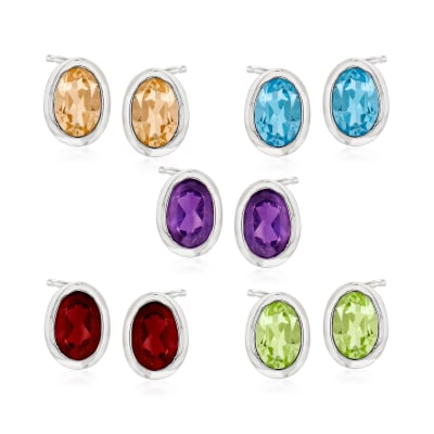 4.60 ct. t.w. Multi-Gemstone Jewelry Set: Five Pairs of Stud Earrings in Sterling Silver