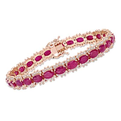 16.00 ct. t.w. Ruby and 2.20 ct. t.w. Diamond Tennis Bracelet in 14kt Rose Gold