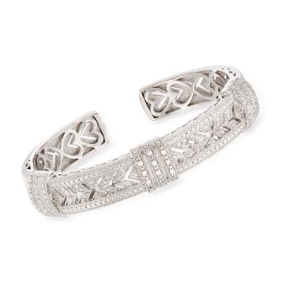 .25 ct. t.w. Diamond Vintage-Style Cuff Bracelet in Sterling Silver