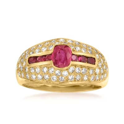 C. 1980 Vintage .80 ct. t.w. Ruby and .85 ct. t.w. Diamond Ring in 18kt Yellow Gold