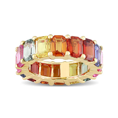 11.20 ct. t.w. Multicolored Sapphire Eternity Band in 14kt Yellow Gold