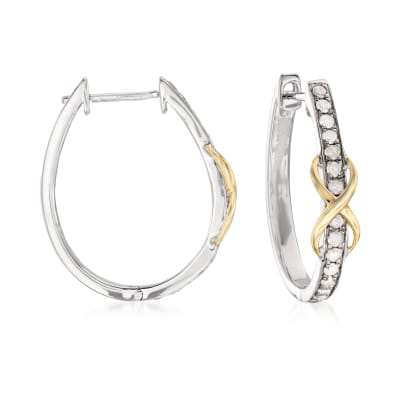 .50 ct. t.w. Diamond Infinity Hoop Earrings in Sterling Silver with 14kt Yellow Gold