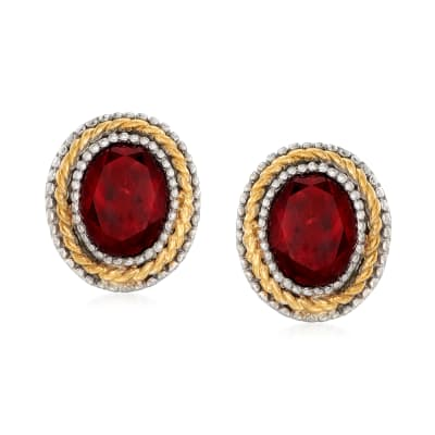 4.70 ct. t.w. Garnet Earrings in Sterling Silver and 14kt Yellow Gold