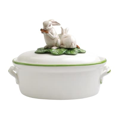 "Vietri ""Spring Vegetables"" Tureen with Bunny Lid from Italy"