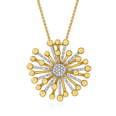 .35 ct. t.w. Diamond Starburst Pendant Necklace in 18kt Gold Over Sterling