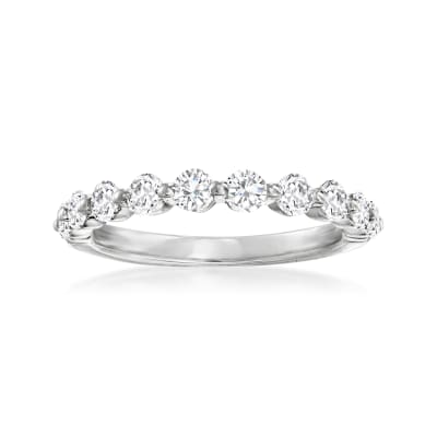 Henri Daussi .70 ct. t.w. Diamond Wedding Ring in 14kt White Gold