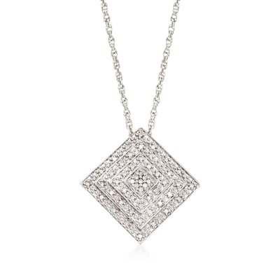 .15 ct. t.w. Diamond Concentric Square Pendant Necklace in Sterling Silver