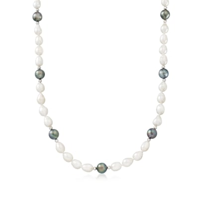 8-9mm Black Cultured Tahitian Pearl and 6-7mm Cultured Pearl Necklace with Sterling Silver