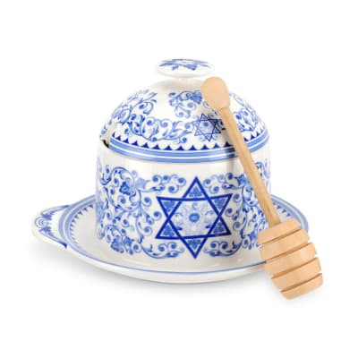 """Spode """"Judaica"""" Honey Pot with Drizzler"""