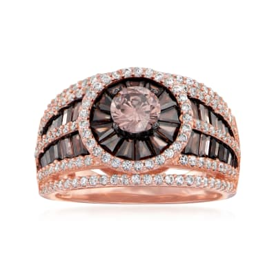 2.50 ct. t.w. Brown and White CZ Ring in 18kt Rose Gold Over Sterling