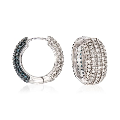 2.00 ct. t.w. White and Blue Diamond Reversible Hoop Earrings in Sterling Silver
