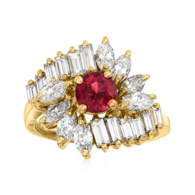 C. 1980 Vintage .65 Carat Pink Tourmaline and 2.20 ct. t.w. Diamond Cluster Ring in 18kt Yellow Gold