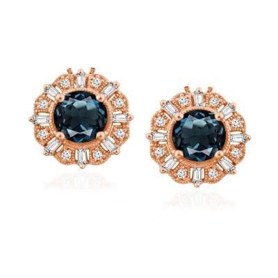 1.20 ct. t.w. London Blue Topaz Earrings with .15 ct. t.w. Diamonds in 14kt Rose Gold