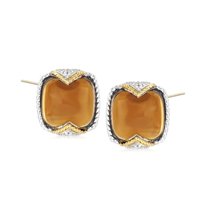 "Andrea Candela ""Dulcitos"" 8.64 ct. t.w. Cognac Quartz Earrings in Sterling Silver and 18kt Yellow Gold"