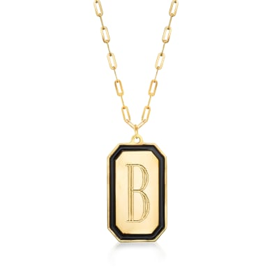 Italian 14kt Yellow Gold Single-Initial Tag Paper Clip Link Necklace with Black Enamel