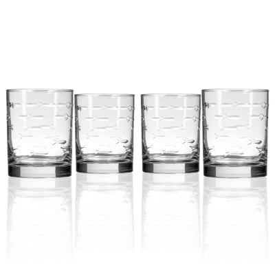 "Rolf Glass ""School of Fish"" Set of 4 Old-Fashioned Glasses"