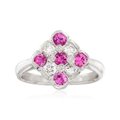 C. 1990 Vintage .60 ct. t.w. Pink Sapphire and .38 ct. t.w. Diamond Checkerboard Ring in Platinum
