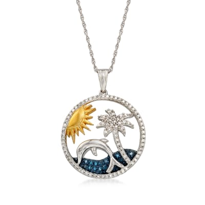 .34 ct. t.w. Blue and White Diamond Tropical Pendant Necklace in Sterling Silver and 18kt Gold Over Sterling