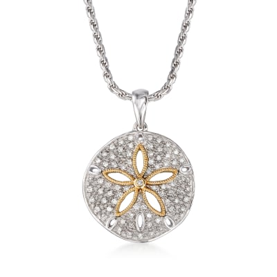.20 ct. t.w. Diamond Sand Dollar Pendant Necklace in Sterling Silver and 14kt Yellow Gold
