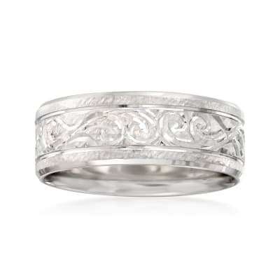 Men's 8mm 14kt White Gold Engraved Swirl Wedding Band