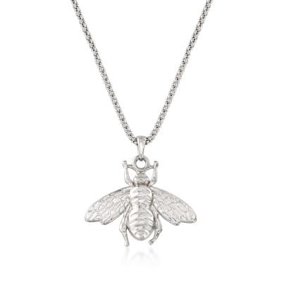 Italian Sterling Silver Bumblebee Pendant Necklace