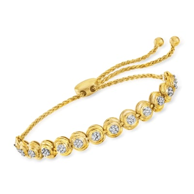 .50 ct. t.w. Bezel-Set Diamond Bolo Bracelet in 18kt Gold Over Sterling