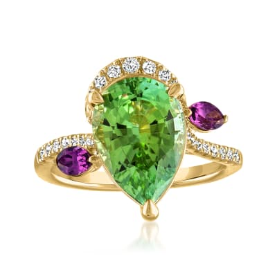 4.40 Carat Green Tourmaline Ring with .38 ct. t.w. Diamonds and .20 ct. t.w. Rhodolite Garnet in 14kt Yellow Gold