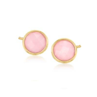 Italian Pink Opal Stud Earrings in 14kt Yellow Gold