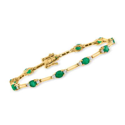 4.00 ct. t.w. Emerald and .72 ct. t.w. Diamond Bracelet in 14kt Yellow Gold