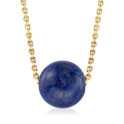Lapis Bead Necklace in 18kt Gold Over Sterling