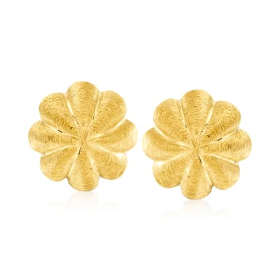 C. 1980 Vintage Tiffany Jewelry 18kt Yellow Gold Ribbed Button Earrings