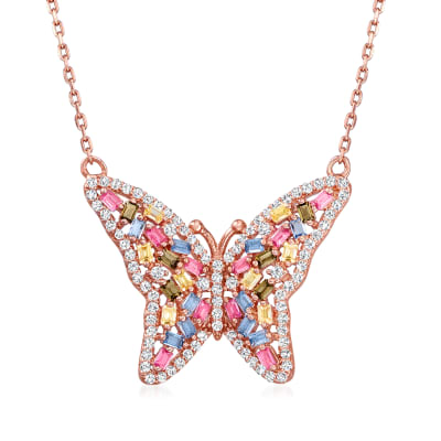 .44 ct. t.w. CZ and .34 ct. t.w. Multicolored Simulated Sapphire Butterfly Necklace in 18kt Rose Gold Over Sterling