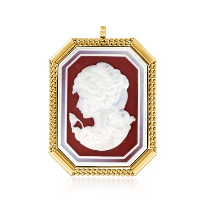 C. 1970 Vintage Red Agate Cameo Pin/Pendant in 18kt Yellow Gold