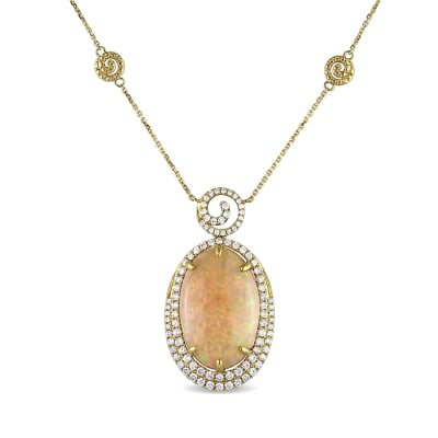 Opal and 1.20 ct. t.w. Diamond Necklace in 14kt Yellow Gold
