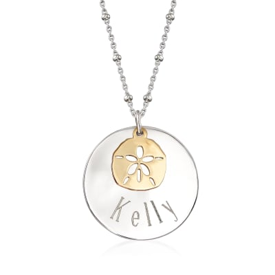Sterling Silver Personalized Disc Necklace with 14kt Yellow Gold Sand Dollar Charm