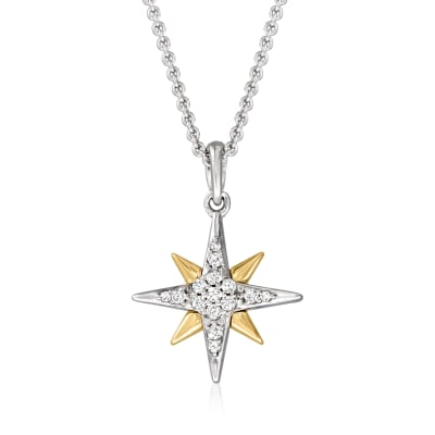 .10 ct. t.w. Diamond Star Pendant Necklace in Sterling Silver and 14kt Yellow Gold