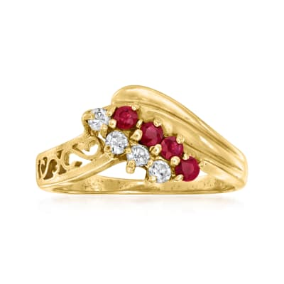 C. 1990 Vintage .20 ct. t.w. Ruby and .15 ct. t.w. Diamond Ring in 14kt Yellow Gold