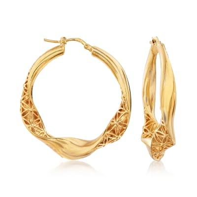 Italian 18kt Gold Over Sterling Filigree Twisted Hoop Earrings