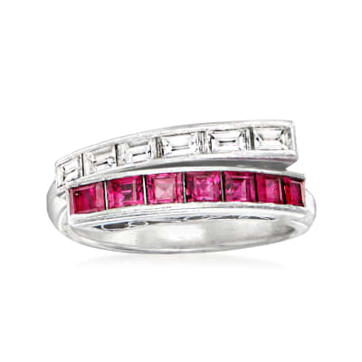 C. 1970 Vintage 1.05 ct. t.w. Ruby and .54 ct. t.w. Diamond Bypass Ring in Platinum