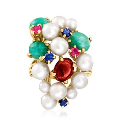 C. 1970 Vintage Cultured Pearl and 3.75 ct. t.w. Multi-Gem Cluster Ring in 14kt Yellow Gold
